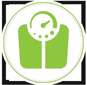 Grafica di una bilancia da bagno verde pallido che simboleggia il controllo del peso 2
