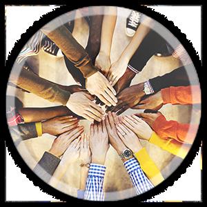 unione di mani e braccia al centro per simboleggiare team