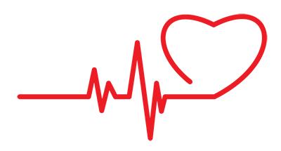 pressione sanguigna su elettrocardiogramma che si trasforma in cuore