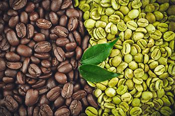 chicchi di caffè verde e chicchi di caffè arabica marroni a confronto
