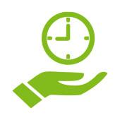 orologio della tenuta della mano del fumetto per rappresentare regolarità