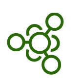 Disegno a pois verdi su sfondo bianco che rappresenta le molecole