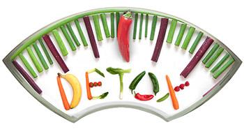 forma della bilancia e scritta detox nel mezzo fatta da frutta e verdura
