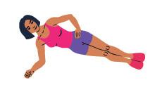 disegno donna che fa esercizio side plank o panca laterale
