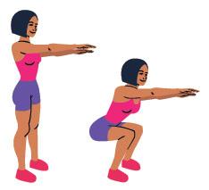 disegno donna che da in piedi fa esercizi di squat