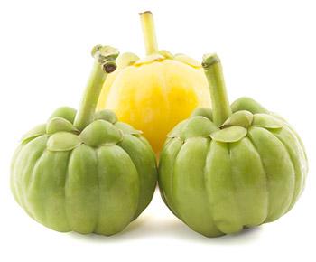 2 frutti verdi di garcinia cambogia e 1 frutto giallo a forma di zucca
