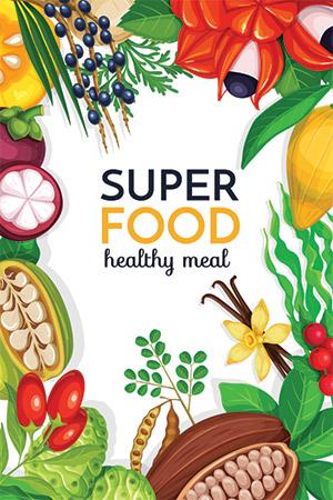 illustrazione superfood seno e benessere da cibo healthy