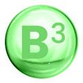 Sfera verde con scritta B3 che rappresenta la vitamina B3 su uno sfondo bianco.