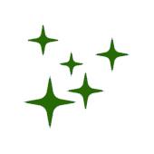 Disegnando in verde di 5 stelle di diverse dimensioni su uno sfondo bianco.
