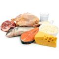 Alimenti ricchi di proteine ??come latte, formaggio e salmone