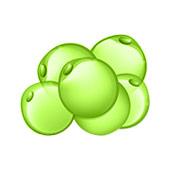 Disegni di piccole palline verdi insieme su uno sfondo bianco, rappresentato grasso