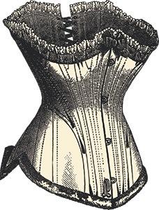 immagine corsetto nero di pizzo su sfondo bianco con lacci neri