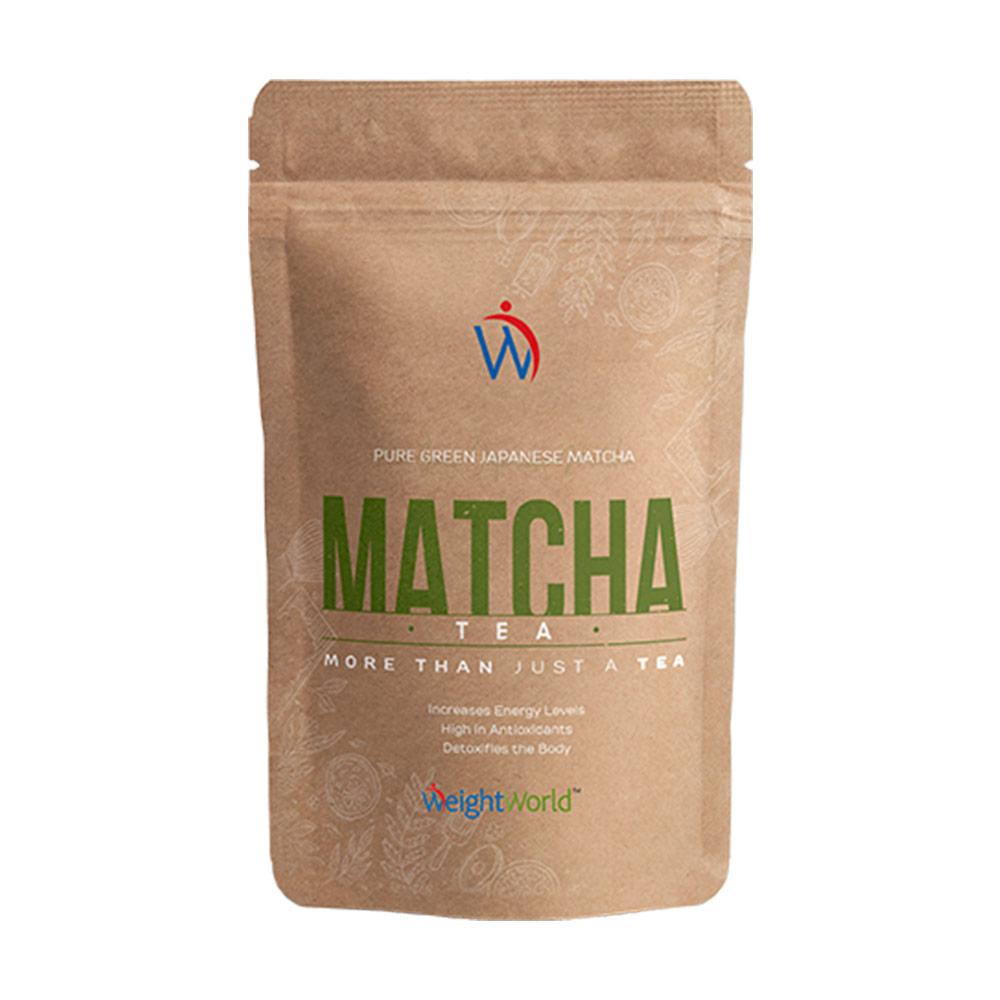 polvere Match Tea da te verde giapponese 200g detox e rivitalizzante su uno sfondo bianco
