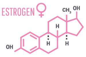 immagine della struttura chimica degli estrogeni per mostrare come la menopausa può influenzare la perdita di peso