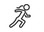 Immagine cartone animato di una donna che corre per mostrare che sta diventando più attiva