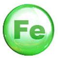 Cerchio verde con le lettere Fe al centro. Lo sfondo è bianco