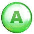 Cerchio verde con la lettera A al centro. Lo sfondo è bianco
