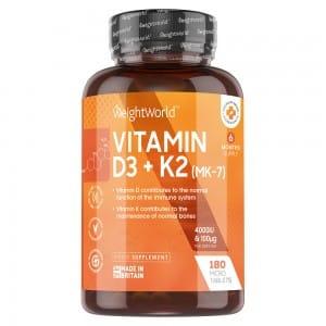 Compresse Vitamina D3 e K2 | Integratore naturale per il mantenimento di ossa e articolazioni sane e per il benessere generale del sistema immunitario