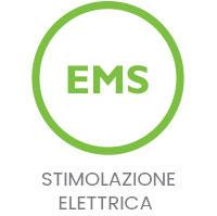 elettrostimolazione ems icona verde su sfondo bianco