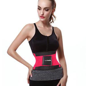 fascia per sudare e dimagrire sweat belt aderente alla pelle effetto sauna fascia rosa scuro con finiture nere
